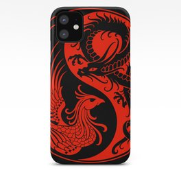 Red and Black Dragon Phoenix Yin Yang iPhone Case
