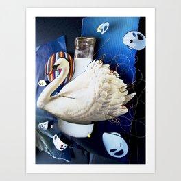 Milky swan | Collage Art Print