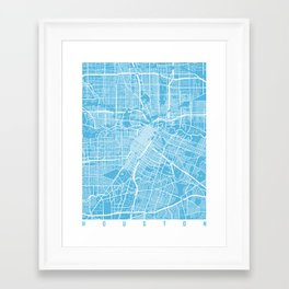 Houston map blue Framed Art Print