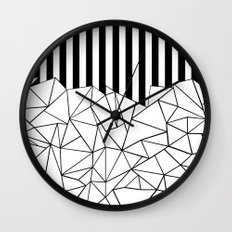 Abstract Outline Stripes Black and White Wall Clock