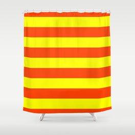 Bright Neon Orange and Yellow Horizontal Cabana Tent Stripes Shower Curtain