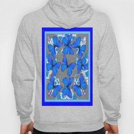 Decorative Blue Shades Butterfly Grey Pattern Art Hoody