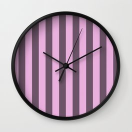 pink and grey stripes Wall Clock