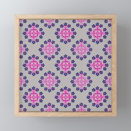Grey, Pink and Navy Style 3 Repeating Tile Digital Design Framed Mini Art Print