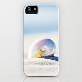 Pearl Nautilus Seashell Photography, Shell on Beach, Blue Coastal Photograph iPhone Case