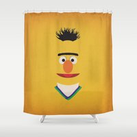 sesame street Shower Curtains featuring Sesame Street Vintage Nursery Art Bert Retro Style Minimalist Poster Print by The Retro Inc