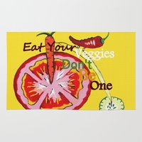 vegetable Area & Throw Rugs featuring Don't Be A Vegetable by Sartoris ART