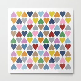 Diamond Hearts Repeat Metal Print