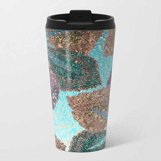 Aqua Green Brown and Blue Faux Glitter Flowers on #Society6 Metal Travel Mug