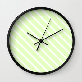 Cool Cucumber Diagonal Stripes Wall Clock