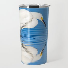 Snowy Egret Reflection at Bolsa Chica Ecological Reserve in Huntington Beach, California Travel Mug
