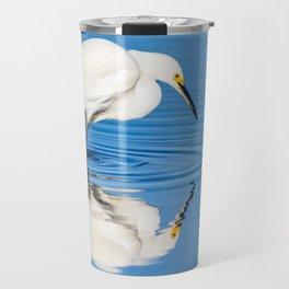 Snowy Egret Reflection at Bolsa Chica Ecological Reserve in Huntington Beach, California Travel Mug