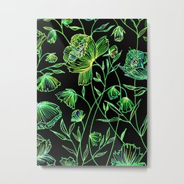 Neon Green Night Flower Metal Print