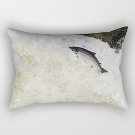 Large salmon leaping Rectangular Pillow