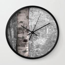 Birch Tree In Forest Wall Clock