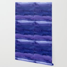 Blue Violet Watercolor Horizontal Stripes Abstract Wallpaper