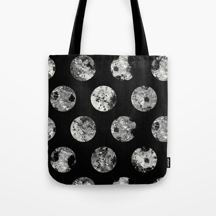 Lunar Pattern - Abstract Black And White Moon Pattern Tote Bag