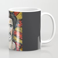 nicolas cage Mugs featuring Raising Arizona Nicolas Cage by Portraits on the Periphery