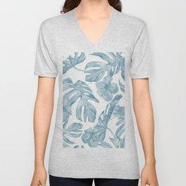 Gorgeous Blue Tropical Leaves + Flowers Unisex V-Neck