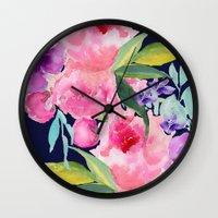 craftberrybush Wall Clocks featuring Floral blue by craftberrybush