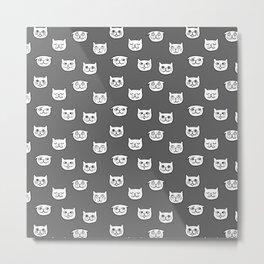 Cat heads in dark grey Metal Print