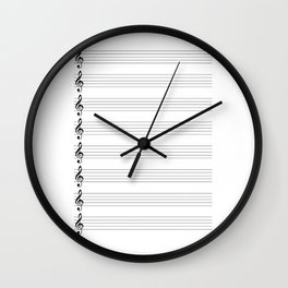 Treble Clef Staves Wall Clock