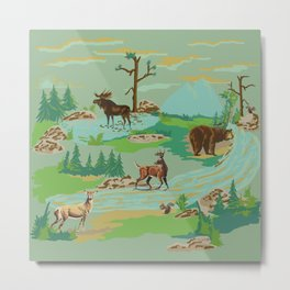 Paint by Number Woodland Animals Metal Print