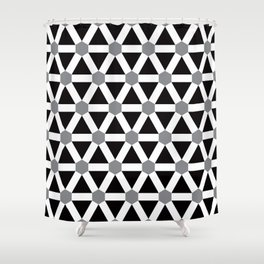 Geometric Pattern 176 (gray triangle grid) Shower Curtain