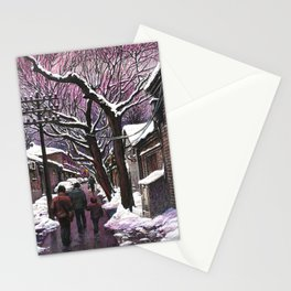 Snowy street at nightfall Stationery Cards