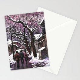 Snowy street at nightfall Stationery Cards