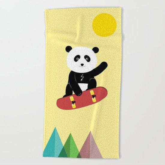 Panda on a skateboard Beach Towel