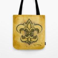 fleur de lis Tote Bags featuring Michelle Fleur de Lis by Cindy Strecker
