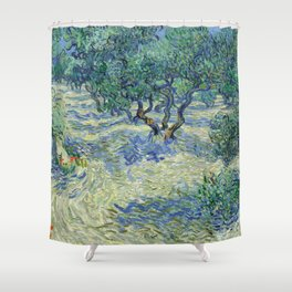 Olive Orchard by Vincent van Gogh Shower Curtain