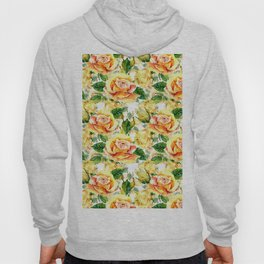 Hand painted yellow orange green watercolor roses floral Hoody