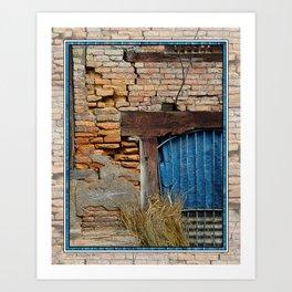 OLD BRICK WALL AND BLUE TARP WINDOW BHAKTAPUR NEPAL Art Print