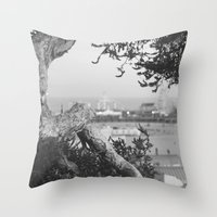 santa monica Throw Pillows featuring santa monica by gabriellevictoria
