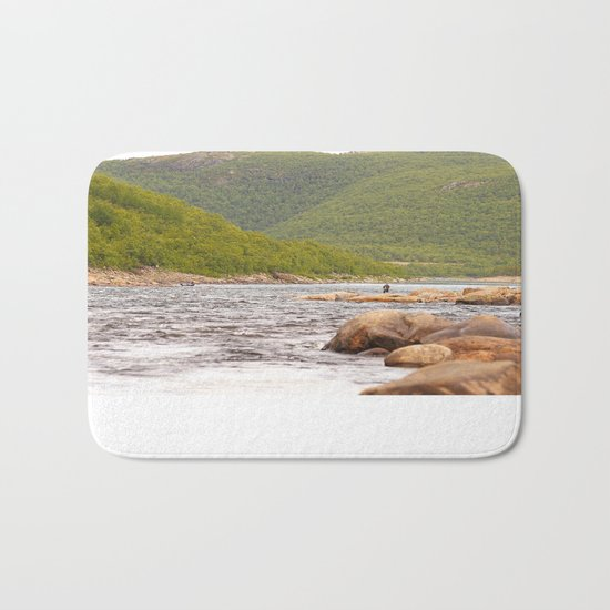 Fly-fishing On The River  Bath Mat