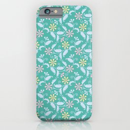 Modern Blossoms Floral in Aqua iPhone Case