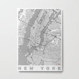 New York Map Line Metal Print