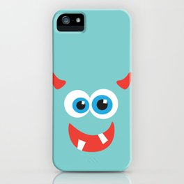 Horny blue monster iPhone Case