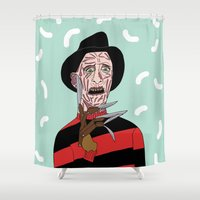 freddy krueger Shower Curtains featuring Freddy Krueger by Elena Éper