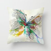 butterfly Throw Pillows featuring Butterfly by Klara Acel