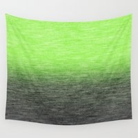ombre Wall Tapestries featuring Ombre Lime by Patterns and Textures