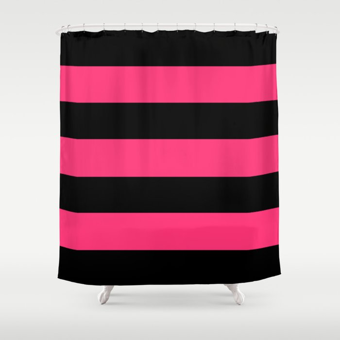 Black And Pink Stripes Shower Curtain
