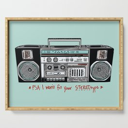 Stereo type Nonconforming | Casette Player | Radio | Hand-drawn Stereo Serving Tray
