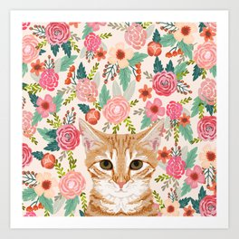 Orange Tabby floral cat head cute pet portrait gifts for orange tabby cat must haves Art Print