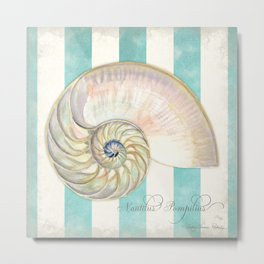 Nautilus Shell Striped Shabby Beach Cottage Watercolor Illustration Metal Print