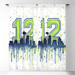 Seattle 12th Man Art Seattle Skyline Space Needle Blackout Curtain
