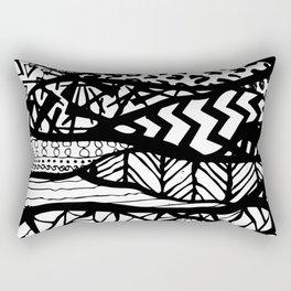 Black and White Tribal Waves Line Patterns Design Rectangular Pillow