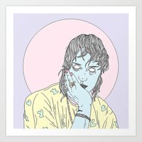 goth Art Prints featuring Beach Goth by Megandoods